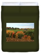 Barn On Autumn Hillside  A Seasonal Perspective Of A Quiet Farm Scene Duvet Cover