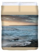 Beautiful Dramatic Sunset Over A Rocky Coast Duvet Cover
