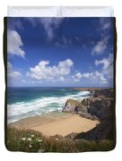 Bedruthan Steps Beach And Atlantic Surf In Summer Sun Cornwall  Duvet Cover