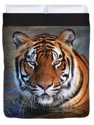 Bengal Tiger Laying In Water Duvet Cover