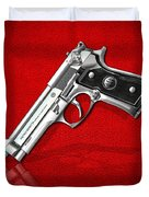Beretta 92fs Inox Over Red Leather  Duvet Cover