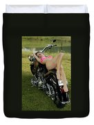 Bikes And Babes Duvet Cover