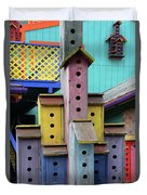 Birdhouses For Colorful Birds 3 Duvet Cover