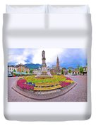 Bolzano Main Square Waltherplatz Panoramic View Duvet Cover