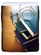 Books And Glasses Duvet Cover