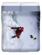 Brandon Prince Climbing Genesis I Area In Hyalite Canyon  Duvet Cover
