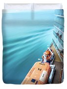 Browsing Around Cruise Ship On The Pacific Ocean Duvet Cover