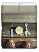 Canned Meal At A Camping Trip Duvet Cover