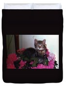 2 Cats In The Flowers Duvet Cover