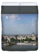 Chain Bridge On Danube River Budapest Cityscape Duvet Cover