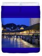 Chapel Bridge Or Kapellbrucke, Lucerne, Switzerland Duvet Cover
