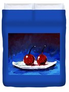 2 Cherries On A White Plate Duvet Cover