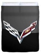 Chevrolet Corvette 3d Badge On Black Duvet Cover
