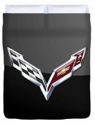 Chevrolet Corvette 3d Badge On Black Duvet Cover