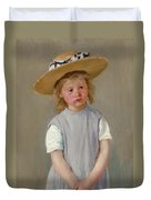 Child In A Straw Hat Duvet Cover