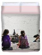 Children At The Pond 5 Duvet Cover