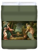Christ And The Samaritan Woman At The Well Duvet Cover