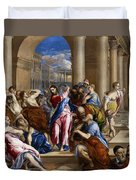Christ Driving The Money Changers From The Temple Duvet Cover
