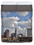 Cleveland Skyline From The Flats River District Duvet Cover