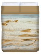 Close-up Of Beautiful Sunlit Ripple Surface Of Sand In Desert  Duvet Cover