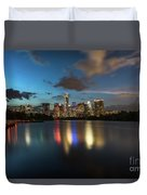 Clouds Roll Over The Austin Skyline As The Neon Reflects In The Glass-like Waters Of Lady Bird Lake Duvet Cover