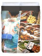 Collage Of Japan Food Images Duvet Cover