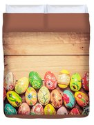 Colorful Hand Painted Easter Eggs On Wood Duvet Cover