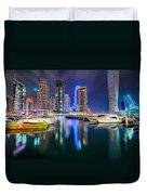 Colorful Night Dubai Marina Skyline, Dubai, United Arab Emirates Duvet Cover