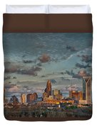 Cotton Candy Sky Over Charlotte North Carolina Downtown Skyline Duvet Cover