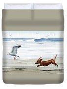 Dachshund At The Beach  Duvet Cover