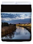 Dawn Over The Town River Duvet Cover