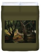 Departure For The Hunt In The Pontine Marshes Duvet Cover