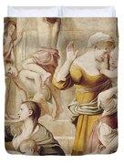 Detail Of Saint Cecilia Distributing Alms Duvet Cover