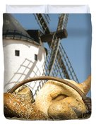 Different Breads And Windmill In The Background Duvet Cover