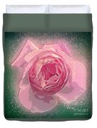 Digitally Manipulated Pink English Rose  Duvet Cover