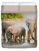 Elephants At The Bank Of Chobe River In Botswana Duvet Cover