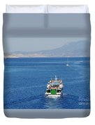 Emborio Harbour On Halki Duvet Cover