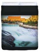 Falls And The Washington Water Power Building Along The Spokane  Duvet Cover