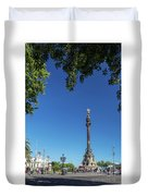 Famous Columbus Monument Landmark In Central Barcelona Spain Duvet Cover