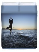 Female Doing Yoga At Sunset Duvet Cover