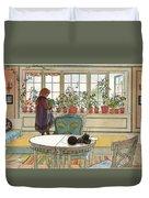 Flowers On The Windowsill Duvet Cover