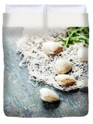 Food Background With Seafood And Wine Duvet Cover