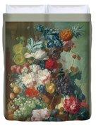 Fruit And Flowers In A Terracotta Vase Duvet Cover