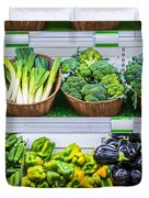 Fruits And Vegetables On A Supermarket Shelf Duvet Cover by Deyan Georgiev