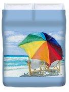 Beach Umbrella By Marilyn Nolan-johnson Duvet Cover