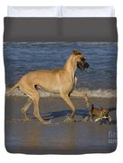 Giant And Tiny Dogs Duvet Cover