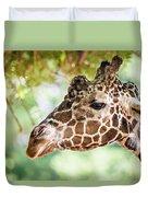 Giraffe Feeding On Green Leaves Of Lettuce Duvet Cover