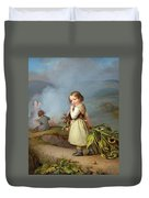 Girl On Her Way To Cooking Potatoes In The Fire Duvet Cover