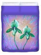 2 Green Orchids. Sunrise Duvet Cover