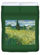 Green Wheat Field With Cypress Duvet Cover